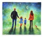Twilight Walk With Mom And Dad Fleece Blanket