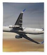 United Airlines Boeing 767-322 Fleece Blanket