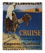 Vintage Poster -  Mediterranean Cruises Fleece Blanket