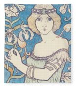 Vintage Poster - Woman With Flower Fleece Blanket