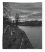 Walking Along The Seine At Sunset Fleece Blanket