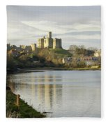 Warkworth Castle And River Aln Fleece Blanket