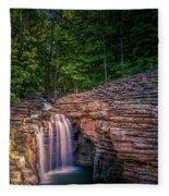 Waterfall At Top Of The Rock Fleece Blanket by Allin Sorenson