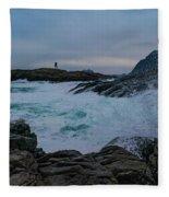 Waves Hitting The Rocks Fleece Blanket