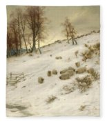 A Flock Of Sheep In A Snowstorm  Fleece Blanket