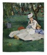 The Monet Family In Their Garden At Argenteuil  Fleece Blanket