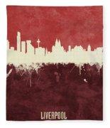 Liverpool England Skyline Fleece Blanket