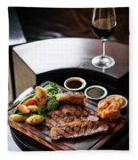 Sunday Roast Beef Traditional British Meal Set On Table Fleece Blanket