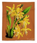 Orchid Vintage Print On Tinted Paperboard Fleece Blanket