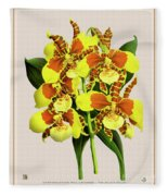 Orchid Vintage Print On Tinted Paperboard Fleece Blanket
