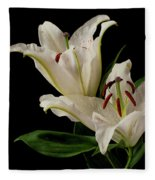 White Lily On Black. Fleece Blanket