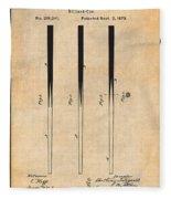1879 Billiard Cue Antique Paper Patent Print Fleece Blanket