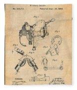 1880 Military Saddle Patent Print Antique Paper Fleece Blanket