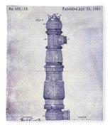 1889 Fire Hydrant Patent Blueprint Fleece Blanket