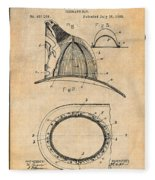 1889 Hopkins Fireman's Hat Antique Paper Patent Print Fleece Blanket