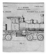1891 Huber Locomotive Engine Gray Patent Print Fleece Blanket