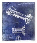 1896 Fire Hose Spray Nozzle Patent Blue Fleece Blanket