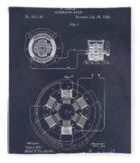 1896 Tesla Alternating Motor Blackboard Patent Print Fleece Blanket