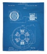 1896 Tesla Alternating Motor Blueprint Patent Print Fleece Blanket