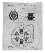 1896 Tesla Alternating Motor Gray Patent Print Fleece Blanket