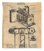 1899 Photographic Camera Patent Print Antique Paper Fleece Blanket