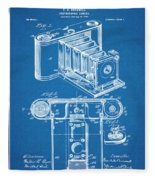 1899 Photographic Camera Patent Print Blueprint Fleece Blanket