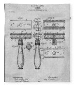 1901 Gillette Safety Razor Gray Patent Print Fleece Blanket