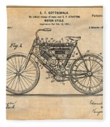1901 Stratton Motorcycle Antique Paper Patent Print Fleece Blanket