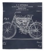 1901 Stratton Motorcycle Blackboard Patent Print Fleece Blanket