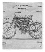 1901 Stratton Motorcycle Gray Patent Print Fleece Blanket