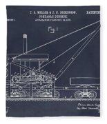 1903 Railroad Derrick Blackboard Patent Print Fleece Blanket