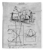 1905 Horse Blanket Patent Print Gray Fleece Blanket