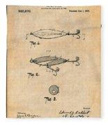 1909 Lockhart Antique Fishing Lure Antique Paper Patent Print Fleece Blanket