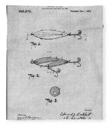 1909 Lockhart Antique Fishing Lure Gray Patent Print Fleece Blanket