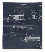 1913 Remington Model 17 Pump Shotgun Blackboard Patent Print Fleece Blanket