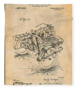 1913 Side Car Attachment For Motorcycle Antique Paper Patent Print Fleece Blanket