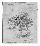 1913 Side Car Attachment For Motorcycle Gray Patent Print Fleece Blanket