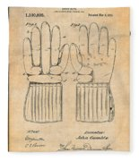 1914 Hockey Gloves Antique Paper Patent Print Fleece Blanket