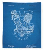 1914 Spacke V Twin Motorcycle Engine Blueprint Patent Print Fleece Blanket