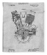 1914 Spacke V Twin Motorcycle Engine Gray Patent Print Fleece Blanket