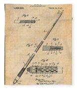 1917 Billiard Pool Cue Antique Paper Patent Print Fleece Blanket