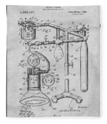 1919 Anesthetic Machine Gray Patent Print Fleece Blanket