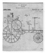 1919 Antique Tractor Gray Patent Print Fleece Blanket