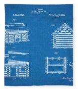 1920 Lincoln Logs Blueprint Patent Print Fleece Blanket