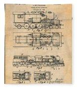 1925 Turbine Driven Locomotive Antique Paper Patent Print  Fleece Blanket