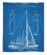 1927 Herreshoff Sail Boat Patent Print Blueprint Fleece Blanket