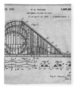 1927 Roller Coaster Gray Patent Print Fleece Blanket