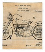 1928 Harley Davidson Motorcycle Antique Paper Patent Print Fleece Blanket