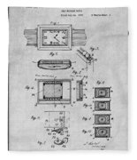 1930 Leon Hatot Self Winding Watch Patent Print Gray Fleece Blanket