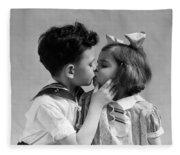 1930s Two Children Young Boy And Girl Fleece Blanket